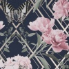Graham & Brown Botanical Trellis Floral Wallpaper - Navy/Pink (113482)