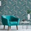 Belgravia Hudson Geo Stripe Wallpaper - Teal (9793)