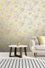 Crown Lucia Floral Grey/Yellow Wallpaper (M1550)