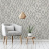 Fine Decor Shard Geo Diamond Wallpaper - Grey/Silver (FD42606)