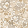 Muriva Carved Wooden Hearts Wallpaper - Natural (102570)