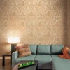Sirpi Italian Damask Floral Leaf Vinyl Wallpaper - Two Tone Gold (20570)