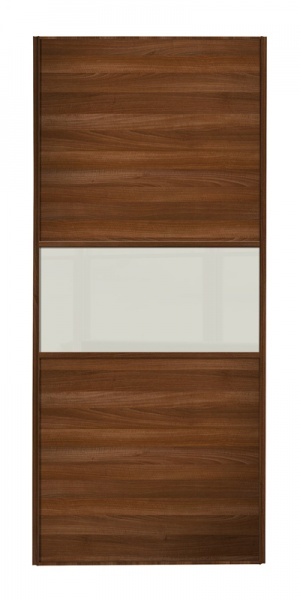 Classic Fineline door, walnut frame, walnut panels top/bottom, arctic white glass middle panel
