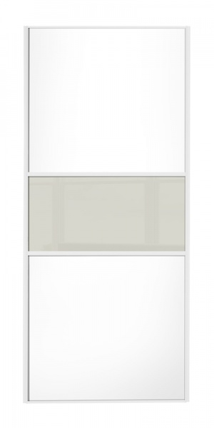 Classic Fineline door, white frame, white wood panels top/bottom, arctic white glass middle panel
