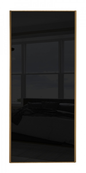 Classic Single Panel door with oak frame and single black glass panel