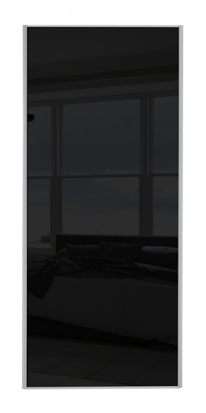 Classic Single Panel door with silver frame and single black glass panel