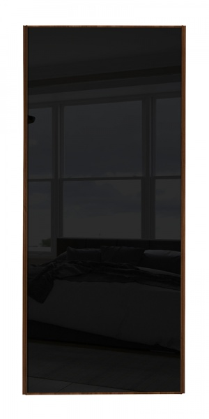 Classic Single Panel door with walnut frame and single black glass panel