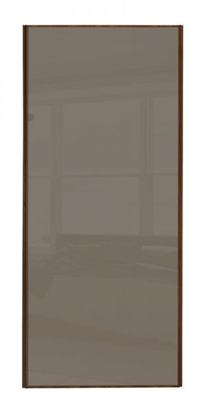 Classic Single Panel door with walnut frame and single cappuccino glass panel