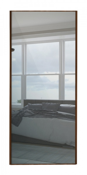 Classic Single Panel door with walnut frame and single mirror panel