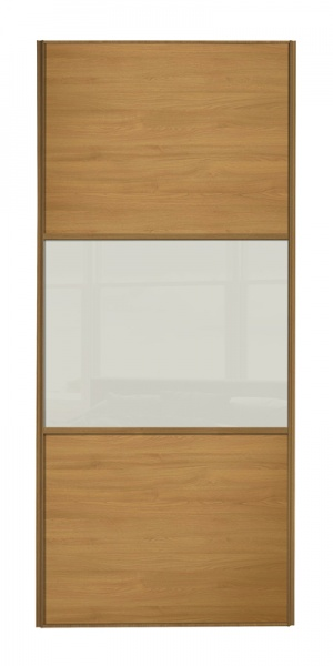 Classic Wideline door, oak frame, oak panels top/bottom, arctic white glass middle panel