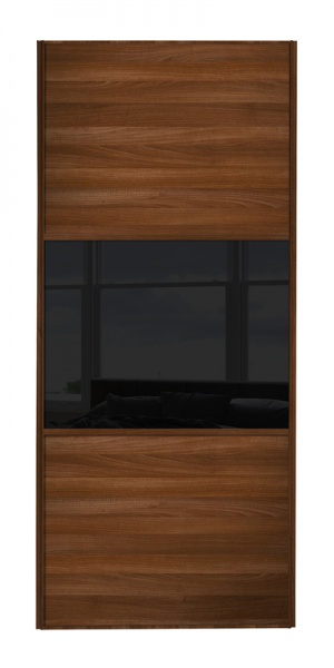 Classic Wideline door walnut frame and walnut panels top and bottom and black glass middle panel