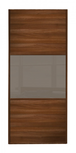Classic Wideline door walnut frame walnut panels top and bottom and cappuccino glass middle panel