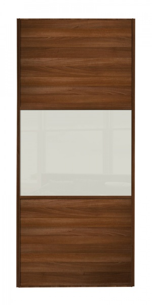 Classic Wideline door, walnut frame, walnut panels top/bottom, arctic white glass middle panel