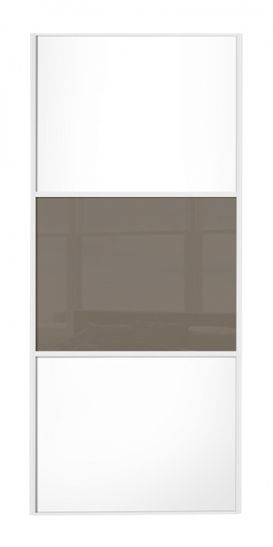 Classic Wideline door white frame white wood panels top and bottom and cappuccino glass middle panel