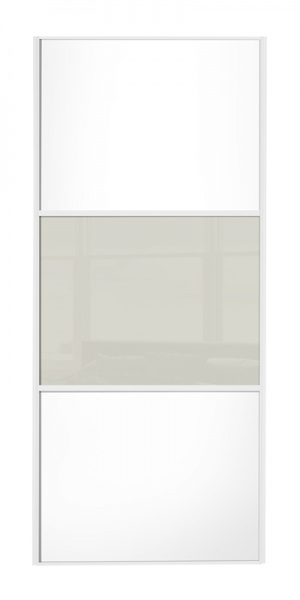 Classic Wideline door, white frame, white wood panels top/bottom, arctic white glass middle panel