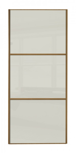 Classic Wideline door with oak frame and arctic white glass panels