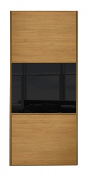 Classic Wideline door with oak frame and oak panels top and bottom and black glass middle panel
