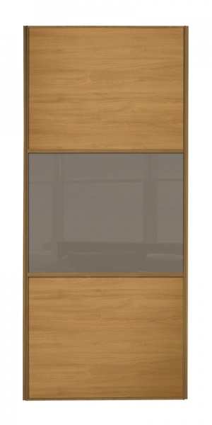 Classic Wideline door with oak frame and oak panels top and bottom and cappuccino glass middle panel