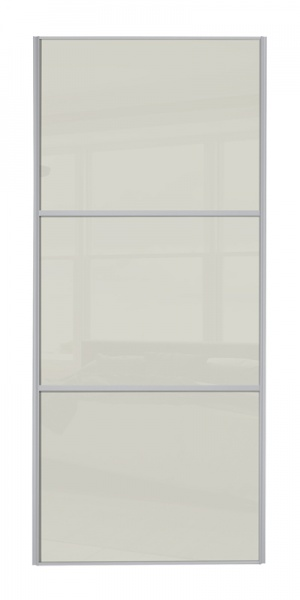 Classic Wideline door with silver frame and arctic white glass panels