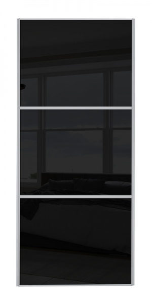 Classic Wideline door with silver frame and black glass panels