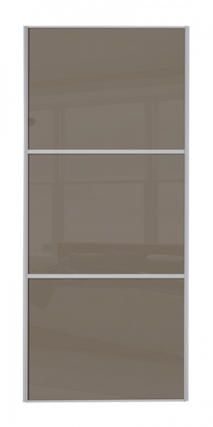 Classic Wideline door with silver frame and cappuccino glass panels