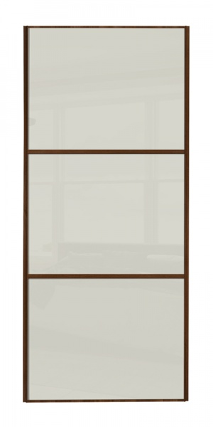 Classic Wideline door with walnut frame and arctic white glass panels