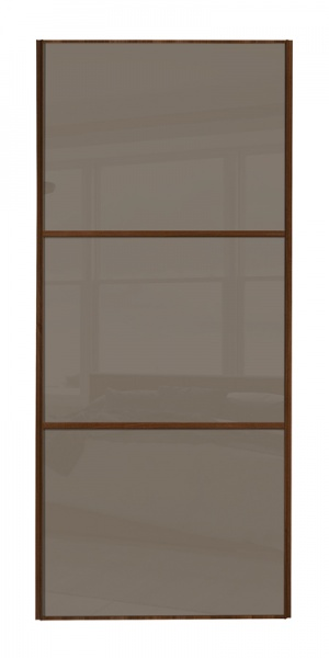 Classic Wideline door with walnut frame and cappuccino glass panels