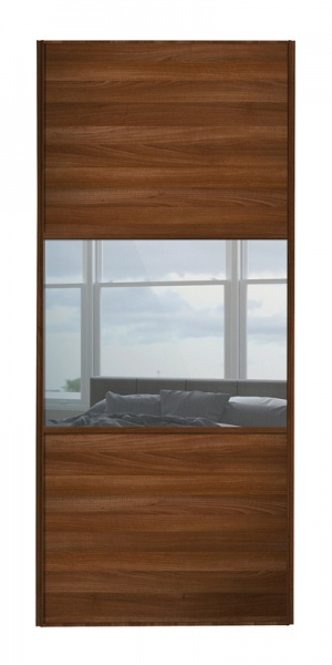 Classic Wideline door with walnut frame and walnut panels top and bottom and mirror middle panel