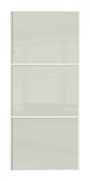 Classic Wideline door with white frame and arctic white glass panels