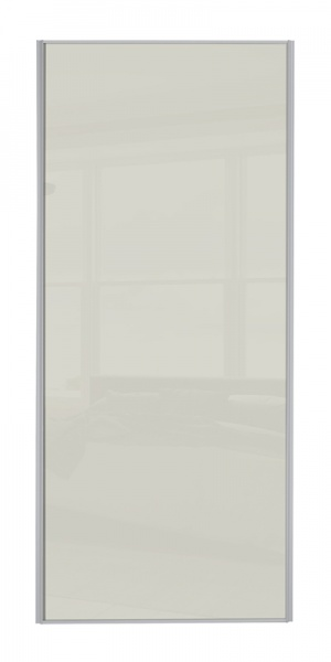 Heritage Single Panel door with silver frame and single arctic white glass panel