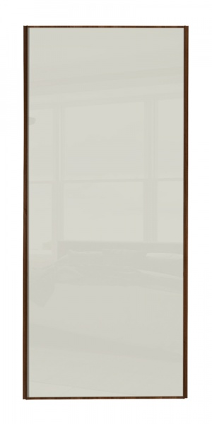 Heritage Single Panel door with walnut frame and single arctic white glass panel