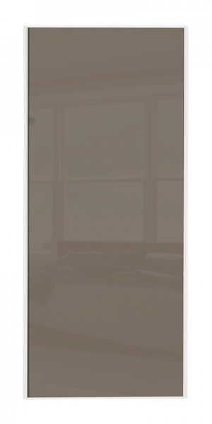 Classic Single Panel door with white frame and single cappuccino glass panel
