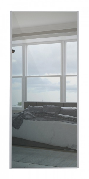 Heritage Single Panel door with silver frame and single mirror panel