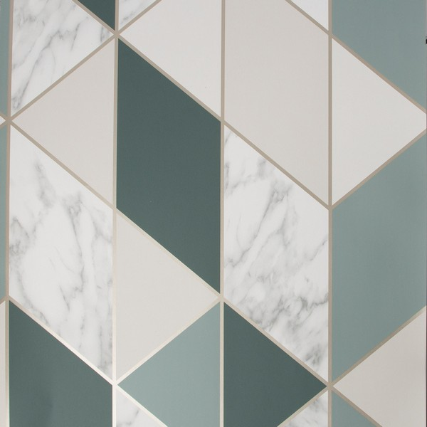 Graham & Brown Marble Geo Wallpaper - Green (108298)