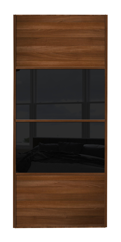 Classic 4 Panel door walnut frame and walnut panels top and bottom and black glass middle 2 panels
