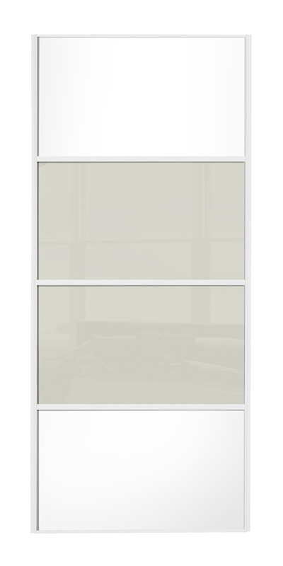 Classic 4 Panel door, white frame, white wood panels top/bottom, arctic white glass middle 2 panels