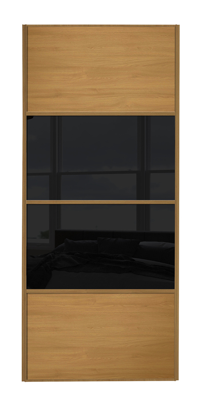 Classic 4 Panel door with oak frame and oak panels top and bottom and black glass middle 2 panels
