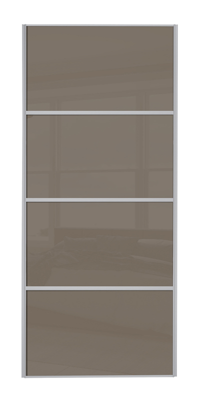 Classic 4 Panel door with silver frame and cappuccino glass panels