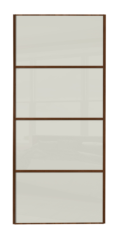 Classic 4 Panel door with walnut frame and arctic white glass panels