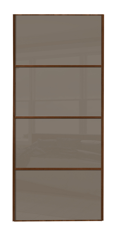 Classic 4 Panel door with walnut frame and cappuccino glass panels