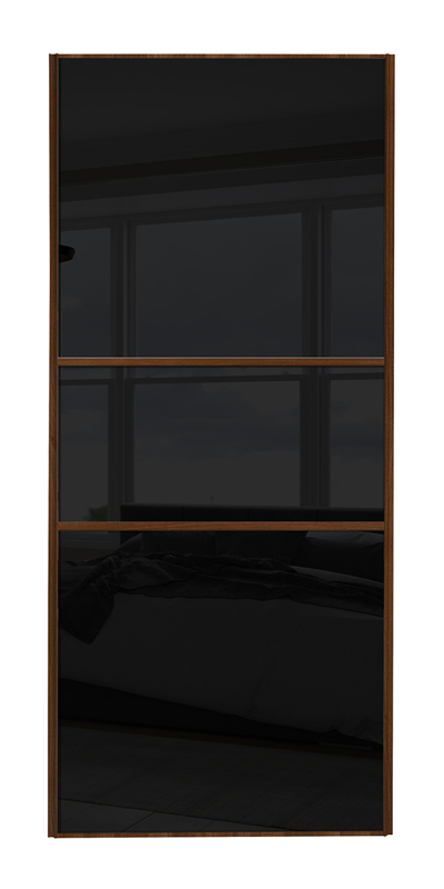 Classic Fineline door with walnut frame and black glass panels