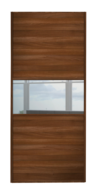Classic Fineline door with walnut frame and walnut panels top and bottom and mirror middle panel