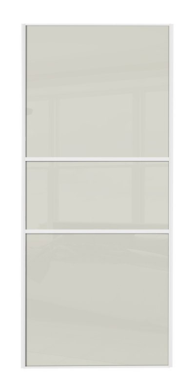 Classic Fineline door with white frame and arctic white glass panels