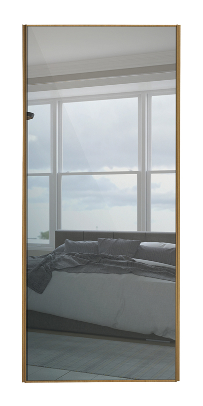 Classic Single Panel door with oak frame and single mirror panel