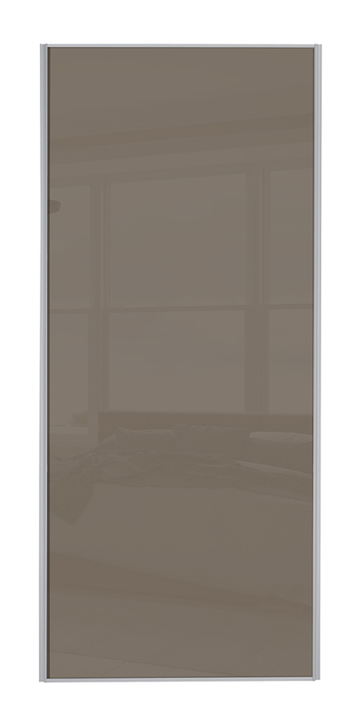 Classic Single Panel door with silver frame and single cappuccino glass panel