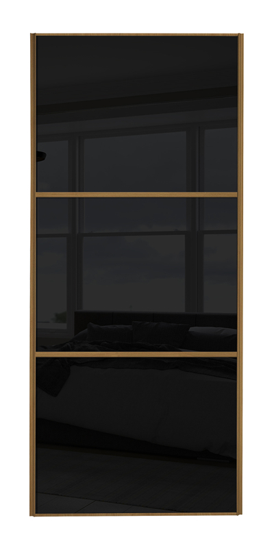 Classic Wideline door with oak frame and black glass panels