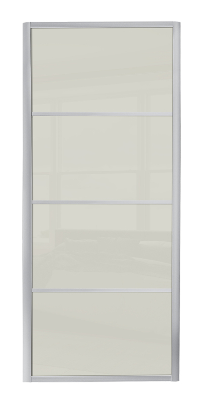 Ellipse 4 Panel door with silver frame and arctic white glass panel