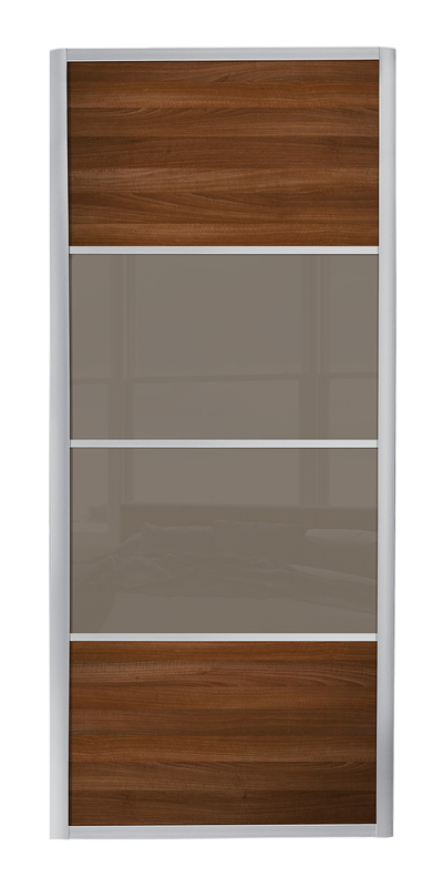 Ellipse 4 Panel door with silver frame and cappuccino glass / walnut panels