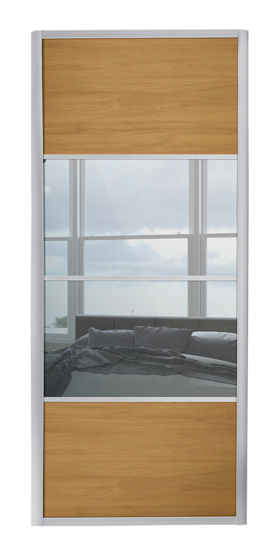 Ellipse 4 Panel door with silver frame and mirror / oak panels