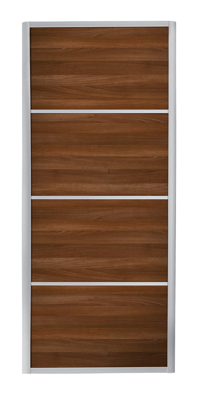 Ellipse 4 Panel door with silver frame and walnut panel